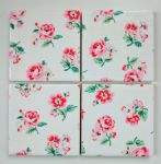 4 Ceramic Coasters in Cath Kidston Ashdown Rose